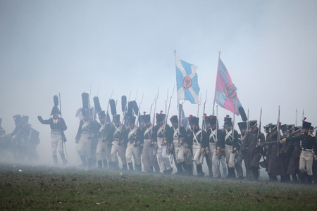 austerlitz: TVAROZNA CZECH REPUBLIC  DECEMBER 3 2011: Reenactors uniformed as Russian soldiers attend the reenactment of the Battle of Austerlitz 1805 near Tvarozna Czech Republic.