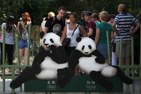 depictions: VIENNA, AUSTRIA - JUNE 7, 2015: Visitors look at the depictions of two giant pandas (Ailuropoda melanoleuca) called Long Hui and Yang Yang at Schonbrunn Zoo in Vienna, Austria. Editorial
