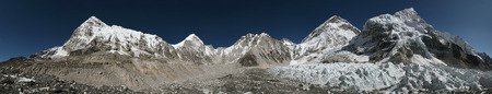 icefall: Panorama from the Everest Base Camp (5,364 m) with the Khumbu Glacier in Khumbu region, Himalayas, Nepal.