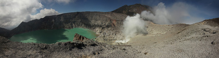 crater lake: Acid lake in the crater of the active volcano of Kawah Ijen in East Java, Indonesia.