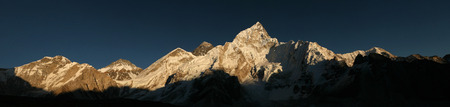 mount everest: Sunset over Mount Everest (8,848 m) and Mount Nuptse (7,861 m) in Khumbu region, Himalayas, Nepal.
