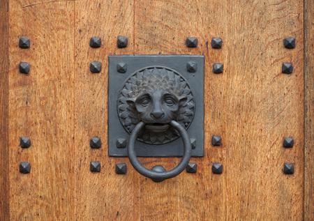 doorknocker: Doorknocker in the shape of a lion head holding a ring on the wooden gate.