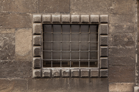 barred: Renaissance barred window in Bergamo, Lombardy, Italy.