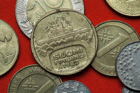 Coins of Finland. Icebreaker Urho depicted in the Finnish five markka coin (1983).