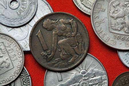 coined: Coins of Czechoslovakia. Czechoslovak one koruna coin (1970) coined in the Czechoslovak Socialist Republic.