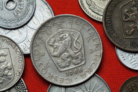 depicted: Coins of Czechoslovakia. Coat of arms of the Czechoslovak Socialist Republic depicted in the Czechoslovak 5 koruna coin (1966).