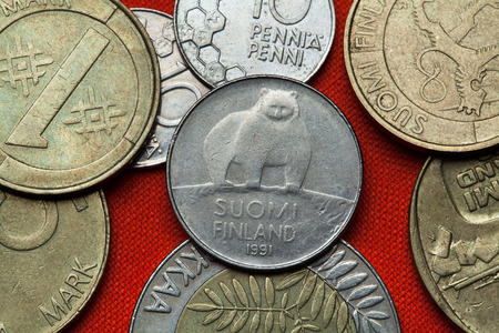 Coins of Finland. Brown bear Ursus arctos depicted in the Finnish 50 penni coin 1991.