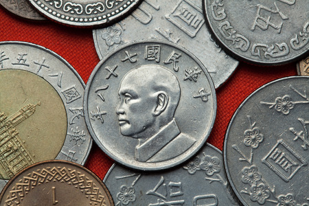 depicted: Coins of Taiwan. Taiwan president Chiang Kai-shek depicted in the Taiwan five dollars coin.
