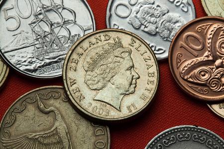 queen elizabeth: Coins of New Zealand. Queen Elizabeth II depicted in the New Zealand one dollar coin.
