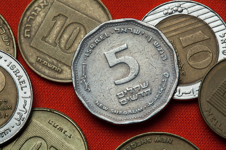 Coins of Israel. Israeli five new shekels coin.