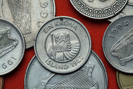 depicted: Coins of Iceland. Mountain giant landvaettir depicted in the Icelandic one krona coin (1987).