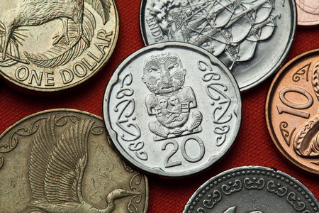 numismatic: Coins of New Zealand. Maori carving of Pukaki depicted in the New Zealand 20 cents coin.