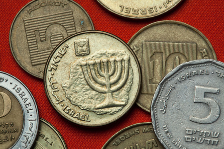 sheqalim: Coins of Israel. Menorah depicted in the Israeli ten agorot coin. Stock Photo