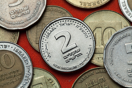 sheqalim: Coins of Israel. Israeli two new shekels coin.