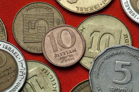 sheqalim: Coins of Israel. Israeli 10 new agorot coin.