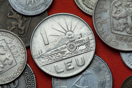 leu: Coins of the Socialist Republic of Romania. Ploughing tractor and sun rising depicted in the Romanian one leu coin (1966).