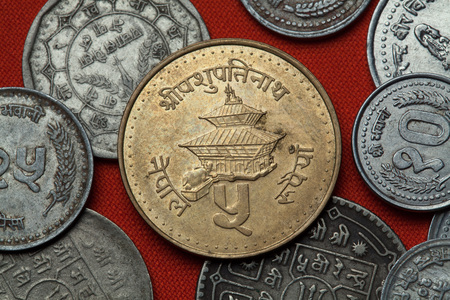five rupee: Coins of Nepal. Pashupatinath Temple in Kathmandu, Nepal depicted in the Nepalese five rupee coin.