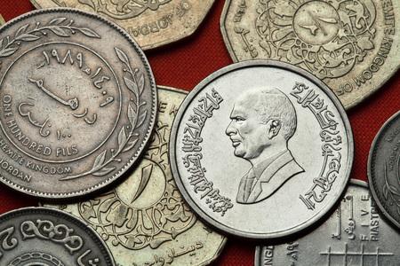 king hussein: Coins of Jordan. King Hussein bin Talal of Jordan depicted in the Jordanian 10 piastres (qirsh) coin.