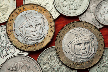 yuri: Coins of Russia. First Soviet cosmonaut Yuri Gagarin depicted in the Russian commemorative 10 ruble coin.