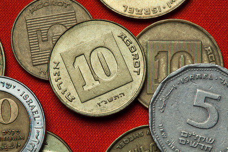 sheqalim: Coins of Israel. Israeli ten agorot coins.