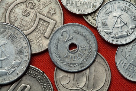 coined: Coins of Communist Hungary. Hungarian two filler coin 1955 coined in the Hungarian People Republic. Stock Photo