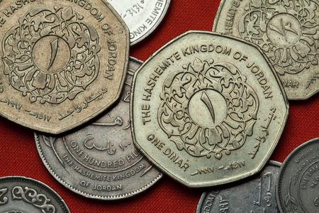 arabic currency: Coins of Jordan. Jordanian one dinar coin.