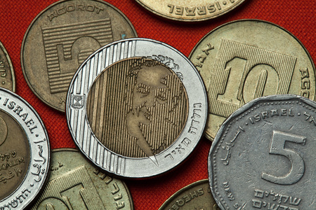 sheqalim: Coins of Israel. Prime Minister of Israel Golda Meir depicted in the Israeli ten new shekels coins.