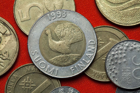Coins of Finland. Wood grouse (Tetrao urogallus) depicted in the Finnish 10 markka coin (1993). Stock Photo