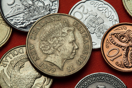 queen elizabeth ii: Coins of New Zealand. Queen Elizabeth II depicted in the New Zealand two dollars coin. Stock Photo