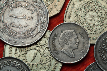 king hussein: Coins of Jordan. King Hussein bin Talal of Jordan depicted in the Jordanian 25 fils coin.