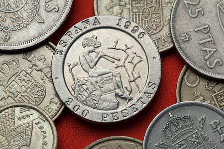 Coins of Spain. Spanish commemorative 200 peseta coin (1996) dedicated to Spanish Romantic painter Mariano Fortuny. Stock Photo