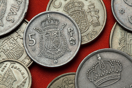 Coins of Spain. Coat of arms of Spain depicted in the Spanish 5 peseta coin. Stock Photo