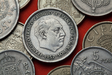 dictator: Coins of Spain. Spanish dictator Francisco Franco depicted in the Spanish 25 peseta coin (1957).