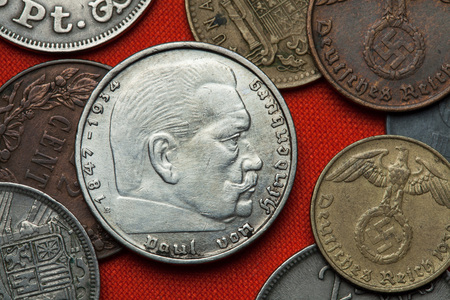 hindenburg: Coins of Nazi Germany. German President Paul von Hindenburg (1847 - 1934) depicted in the German two Reichsmark coin (1939). Stock Photo
