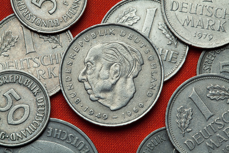 statesman: Coins of Germany. German statesman Theodor Heuss depicted in the German two Deutsche Mark coin (1969).