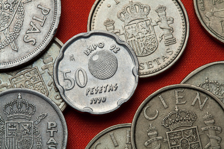 Coins of Spain. Logo for the Seville Expo 92 (Universal Exposition) depicted in the Spanish 50 peseta coin (1990). Editorial