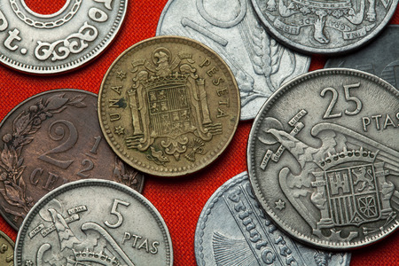 Coins of Spain under Franco. Coat of arms of Spain under Franco depicted in the Spanish one peseta coin (1966). Stock Photo