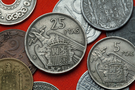 depicted: Coins of Spain under Franco. Coat of arms of Spain under Franco depicted in the Spanish 25 peseta coin (1957).
