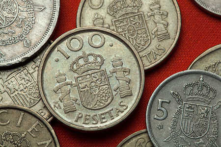 Coins of Spain. Coat of arms of Spain depicted in the Spanish 100 peseta coin.