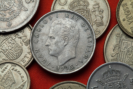 Coins of Spain. King Juan Carlos I of Spain depicted in the Spanish 25 peseta coin (1975).