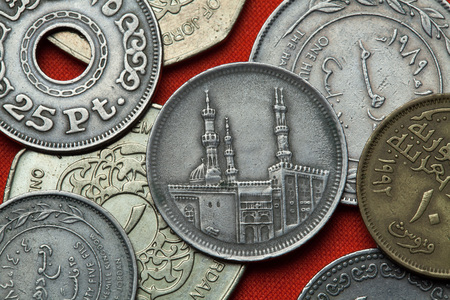 arabic currency: Coins of Egypt. Al-Azhar Mosque in Cairo depicted in the Egyptian 20 piastre (qirsh) coin from 1992.