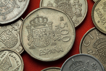 Coins of Spain. Coat of arms of Spain depicted in the Spanish 500 peseta coin (1989). Stock Photo