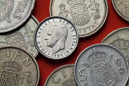 carlos: Coins of Spain. King Juan Carlos I of Spain depicted in the Spanish 10 peseta coin (1984). Stock Photo