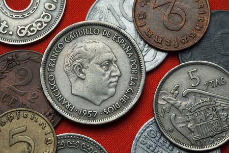 dictator: Coins of Spain under Franco. Spanish dictator Francisco Franco depicted in the Spanish 25 peseta coin (1957).