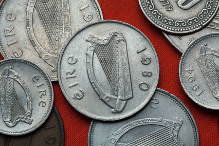 depicted: Coins of Ireland. Celtic harp depicted in the Irish pound coins. Stock Photo