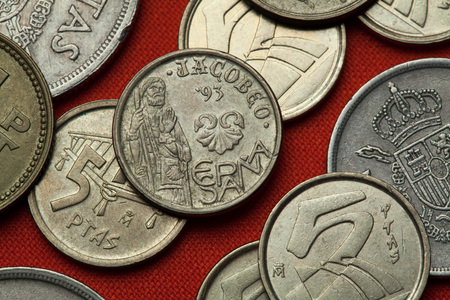 Coins of Spain. Saint James the Great depicted in the Spanish five peseta coin (1993) dedicated to the 1993 Jacobeo Jubilee Year. Stock Photo