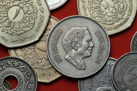 king hussein: Coins of Jordan. King Hussein bin Talal of Jordan depicted in the Jordanian 100 fils coin.