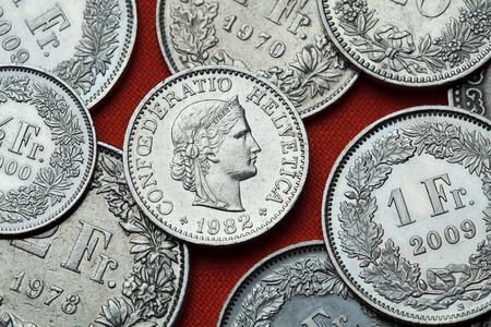 helvetia: Coins of Switzerland. Libertas head depicted in the Swiss 10 rappen coin.