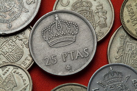 Coins of Spain. Spanish Royal crown (Heraldic crown) depicted in the Spanish 25 peseta coin (1975).