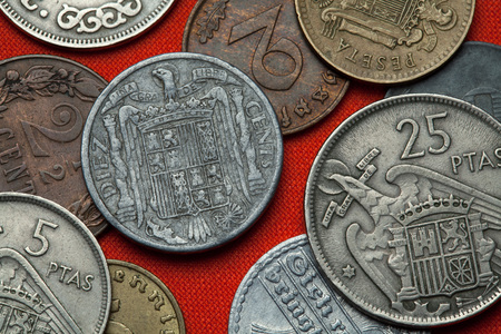 depicted: Coins of Spain under Franco. Coat of arms of Spain under Franco depicted in the Spanish 10 centimos coin (1941).